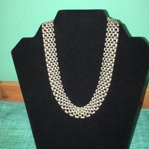 Silver beaded/chain choker. Costume jewelry.